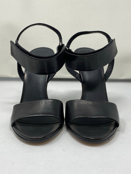 Vince Black Leather Velcro Ankle Strap Sandal