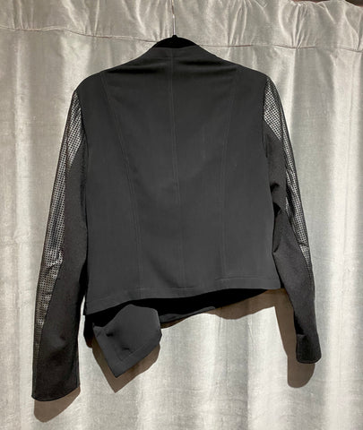 T Tahari Black Blazer with Perforated Leather Arms