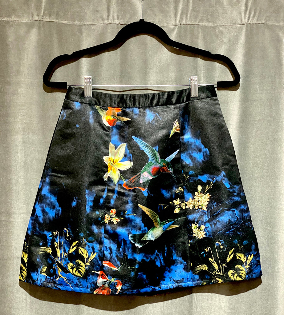 Alice & Olivia Mini Skirt Printed with Birds