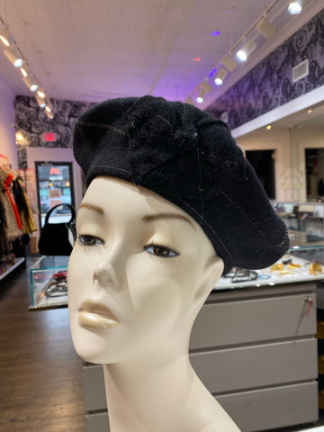 Lisa Shaub Custom Beret Black with Camel Stitching and Flower
