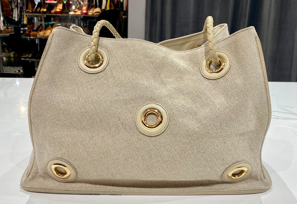 Bottega Veneta Leather Trimmed Woven Bag with gold Circles