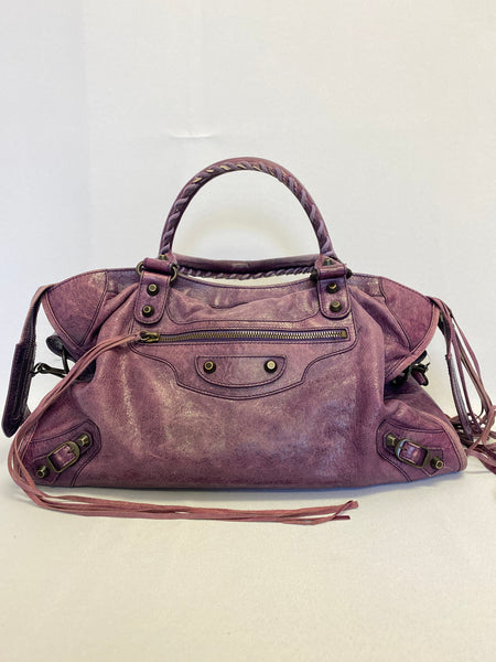 Balenciaga Classic Motocross City Bag Purple