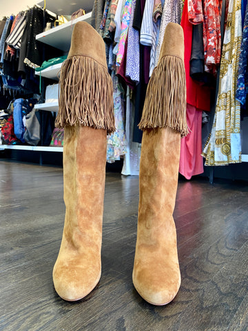 Christian Louboutin Suede Fringe Mid Calf Boot