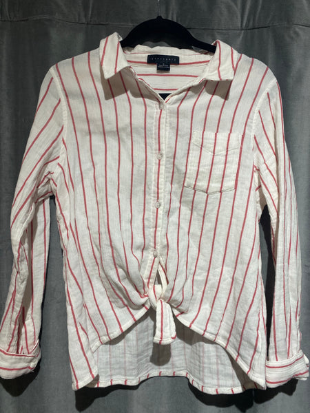 Sanctuary White and red Stripe Button Down Tie Front Cotton Long Sleeve Shirt