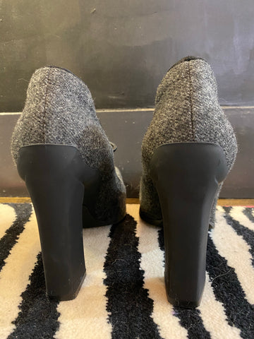Prada Wool Grey Block Heel Pump with Elastic Strap