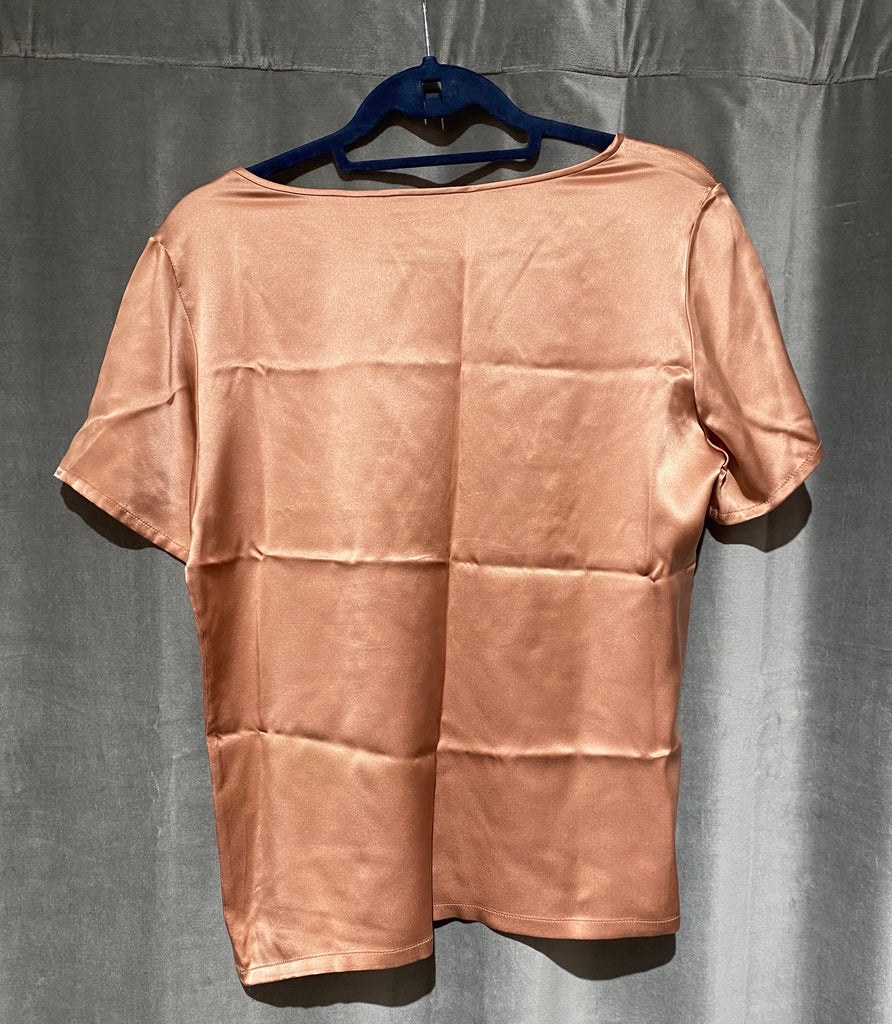 TAHARI Salmon Silk Short sleeve top