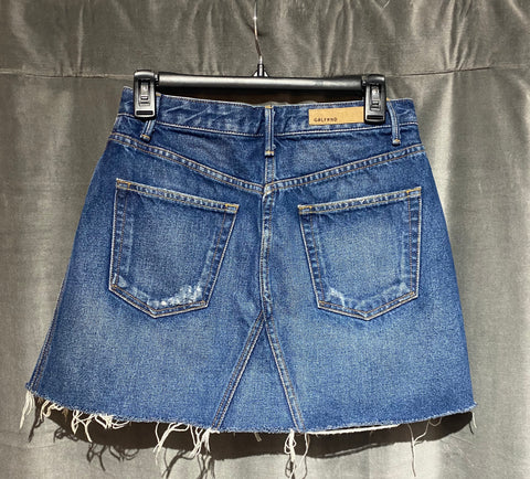 GRLFRND EVA A Frame Gusset Denim Mini Skirt