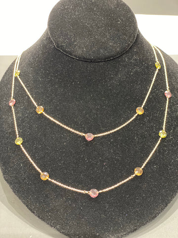 Gold Tone Delicate Double Strand Mutlicolor Stone Necklace