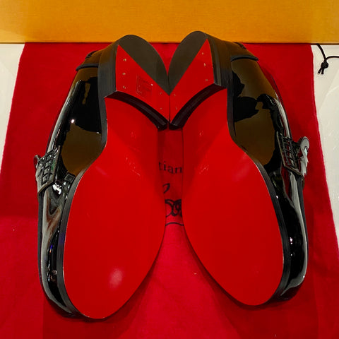 Christian Louboutin Patent Leather Penny Loafer with Geometric Design