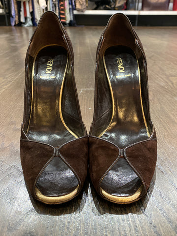Fendi Brown Suede Peep Toe with Brown Leather Accent