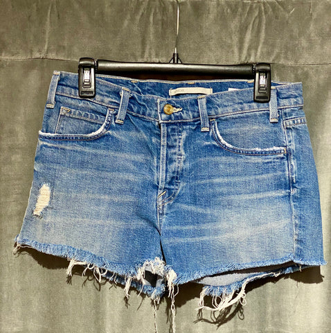 Vince Button Fly Distressed Bottom Denim Short