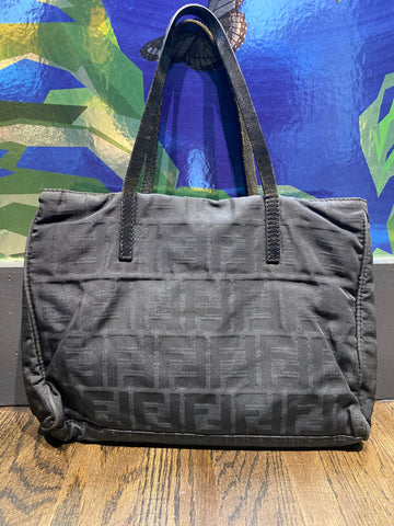 Vintage: Fendi Fabric with FF Monogram Mini-Tote with Silver Center Logo