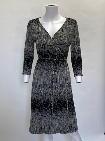 Mica Black and White Wrap Dress