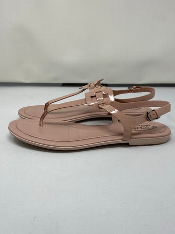 TOD'S Blush Patent Leather Toe thong Sandal with Ankle Closure