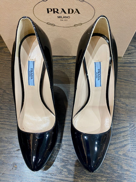 Prada Black Patent Leather platform Heel