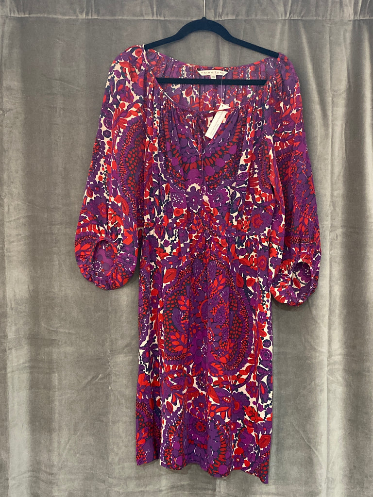 Trina Turk Floral Print Three Quarter Sleeve Silk Dress