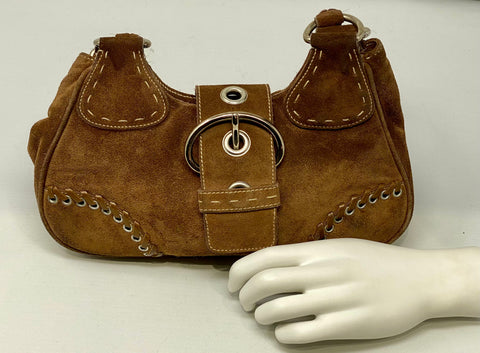 Vintage: Prada Brown Suede and Leather Top Handle Bag