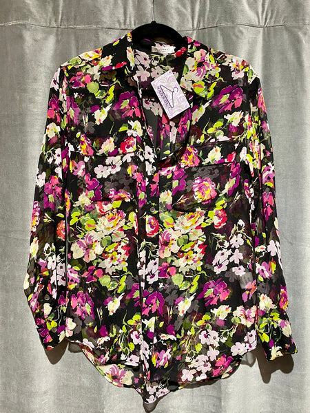 Equipment Sheer Floral Button Down Blouse