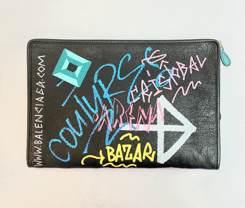 Balenciaga Bazar Graffiti Leather Pouch