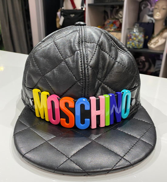 Moschino Black Quilted Leather Multi-Colored Logo Cap