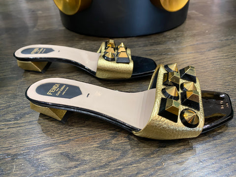 Fendi Patent Slide Sandal with Gold Studs
