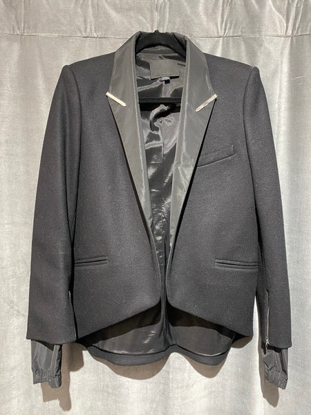 Alexander Wang Wool Blazer with Nylon Lapel and Cuffs