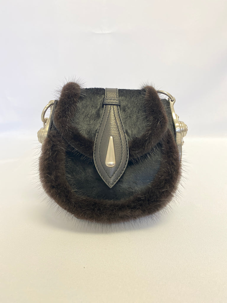 Alexander McQueen Single Flap Pony Hair Fur Trimmed Bag