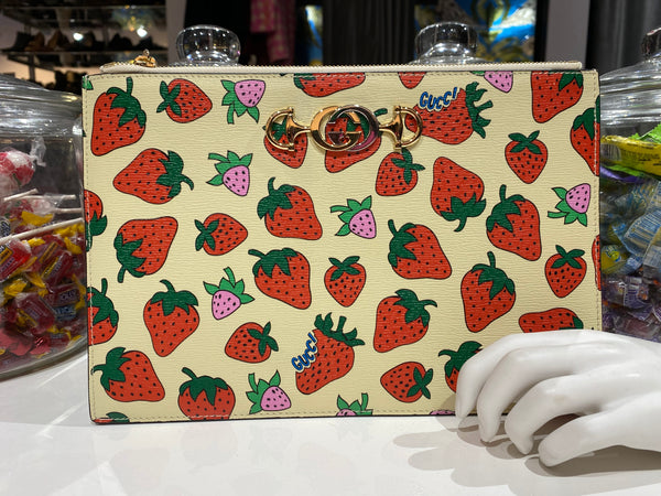 Gucci Strawberry Print top Zip Clutch with Gold and Silver G