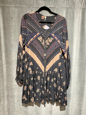 Free People Long Sleeve grey and Taupe Dress