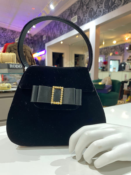 Vintage: Black Velvet and Satin Top Handle Purse with Ribbon Bow and Gold Studded Buckle