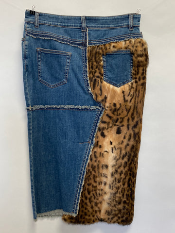 Tom Ford Pathwork Denim with Fur Pencil Skirt