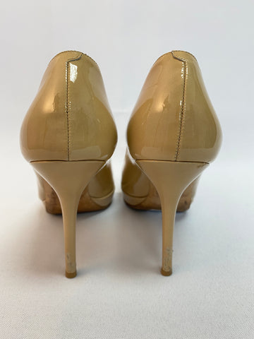 Jimmy Choo Nude Peep Toe Platform Pumps