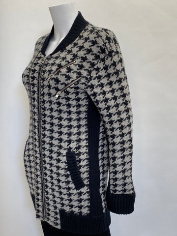 The Kooples Grey and Black Houndstooth Zipper Jacket