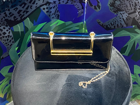 Vintage: Black Patent Leather Purse with Gold Accent