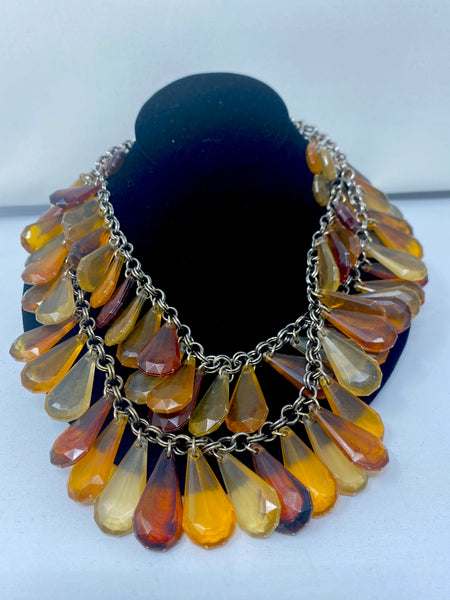 Faux Amber Tope Resin Teardrop Double Chain Necklace