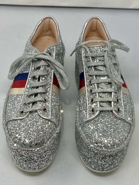 Gucci Silver Glitter Platform Sneaker with Stripes