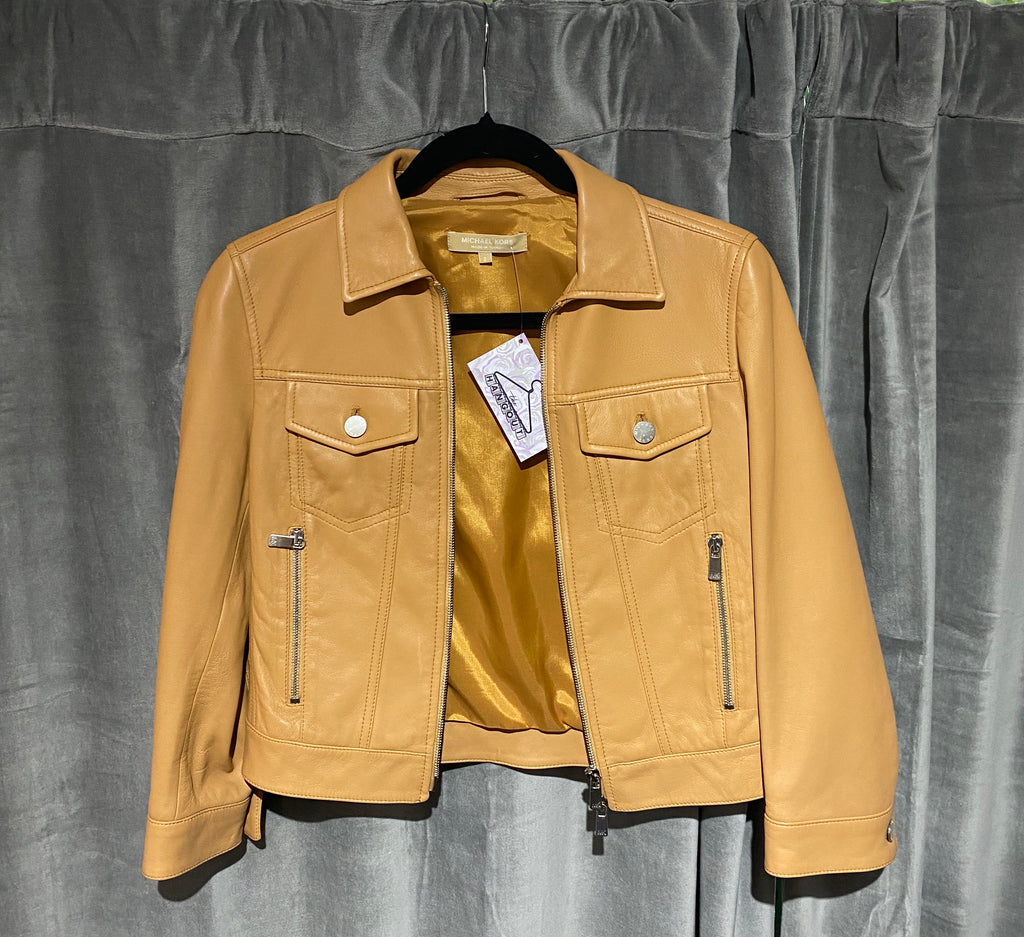 Michael Kors Leather 3/4 Sleeve Cropped Jacket Camel