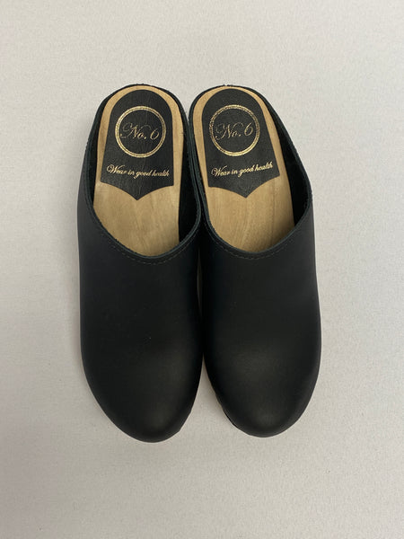No. 6 Black Wedge Clog