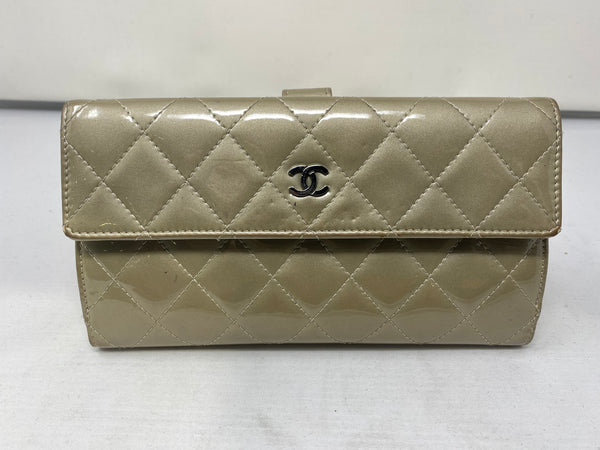 Chanel Quilted Nude Patent Leather Wallet
