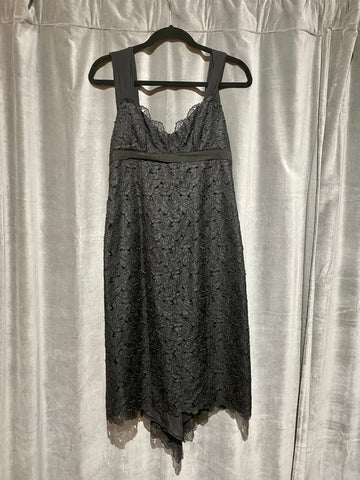 Vintage: Nicole Miller Black Eyelet Floral Sleeveless Dress with Back Bow