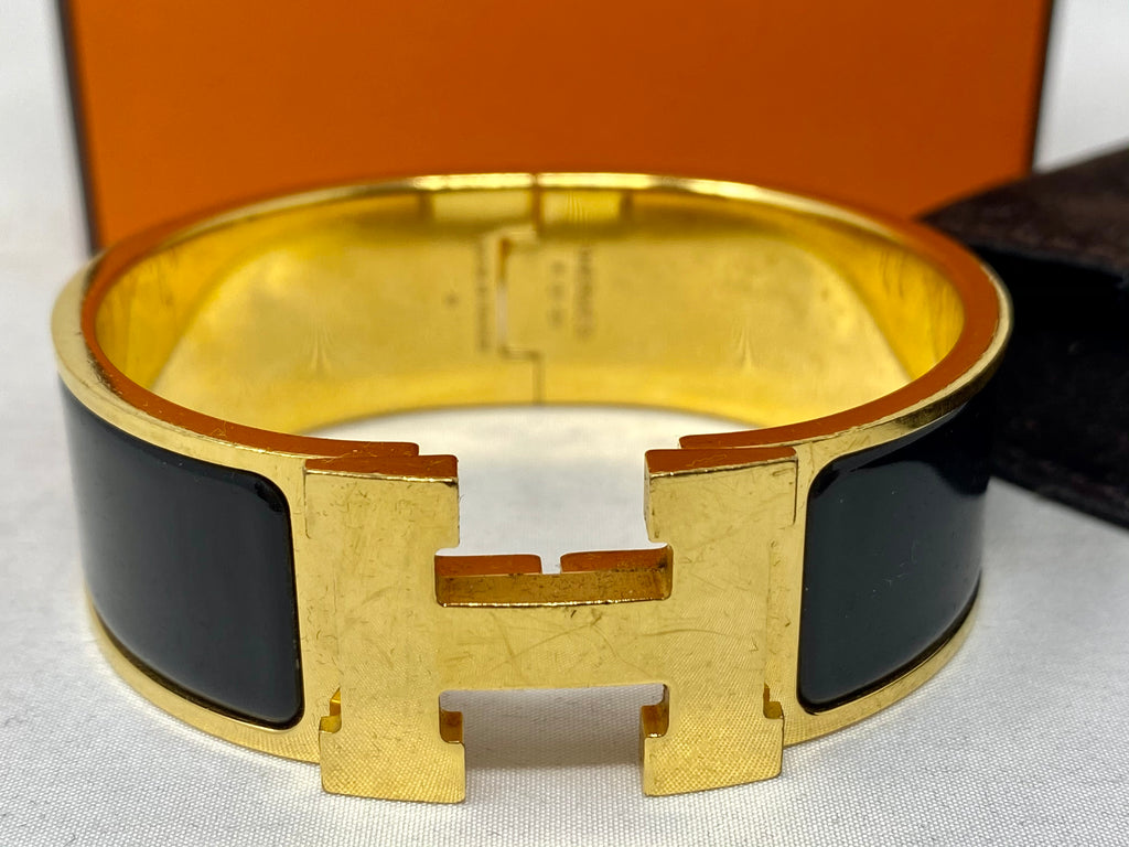 Hermes Clic Clack Black Bangle with Gold Hardware