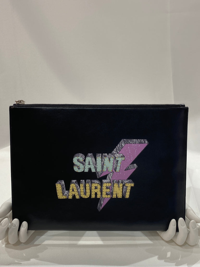 Saint Laurent Zip Pouch Printed Leather Medium Pouch