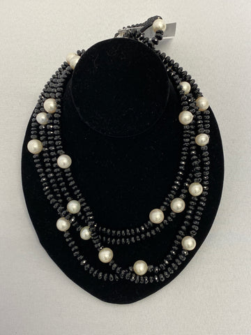 Black Beaded and Pearl Oversized Necklace