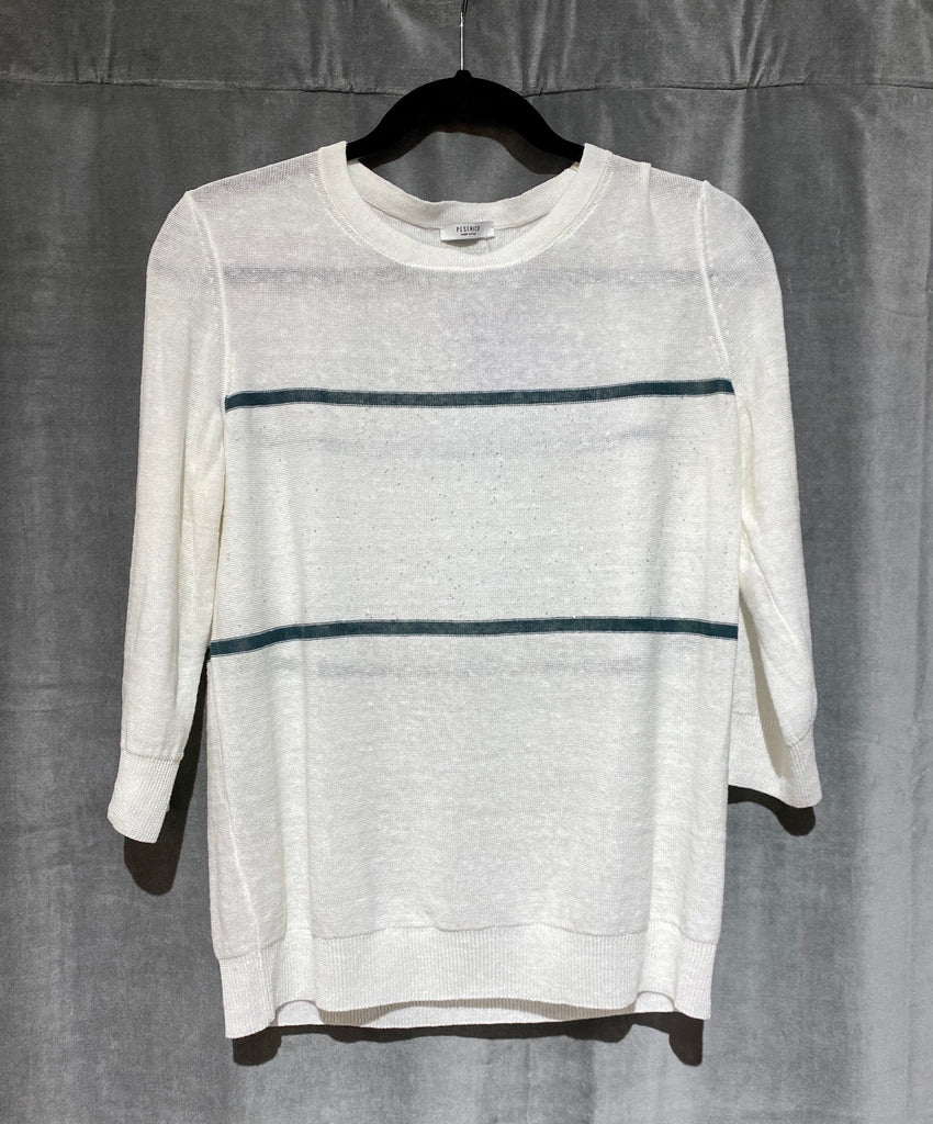 Peserico Cream Crew Neck Three Quarter Sleeve Sweater with Horizontal Stripes and Sparkle