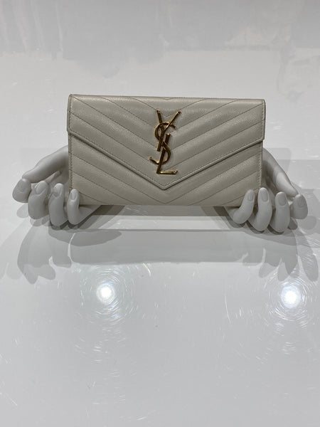 Saint Laurent Cream Classic Metelasse Chevron Large Leather Wallet