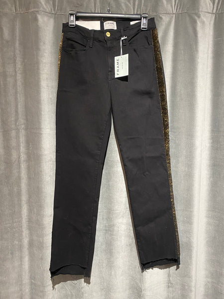 Frame High Rise Straight Fit Black Jeans with Gold Sparkle Stripe