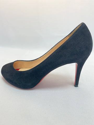 Christian Louboutin Black Suede Peep Toe Pump