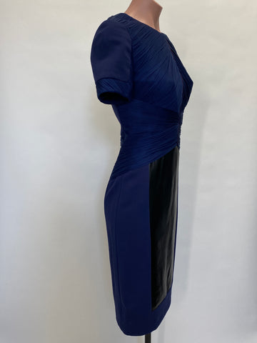 Versace Navy Dress with Black Leather