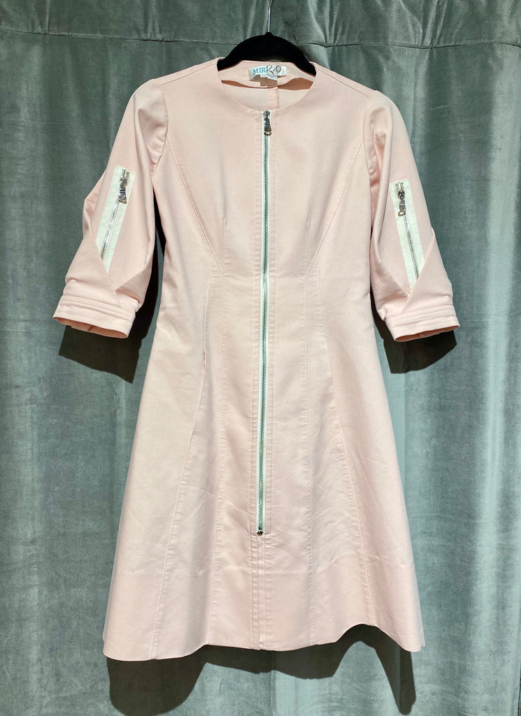 MIRI Three Quarter Sleeve Front Zip Dress
