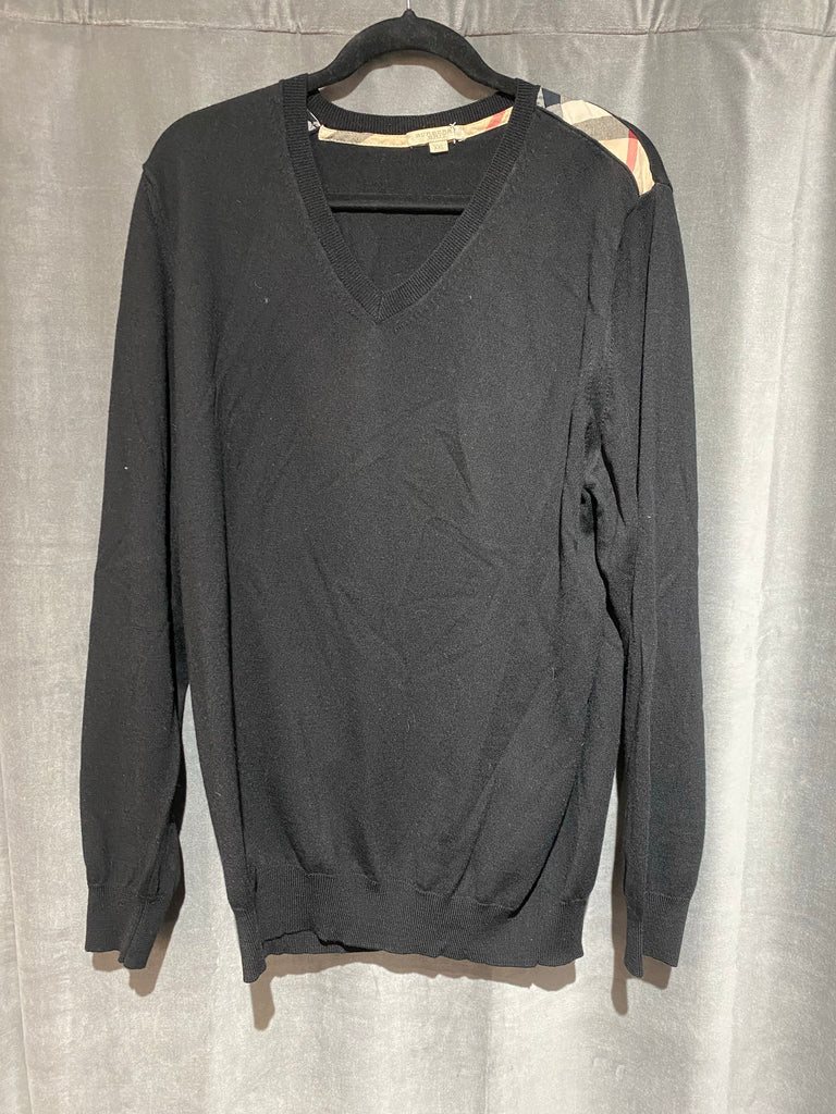 Burberry Black Knit Wool V Neck Mens